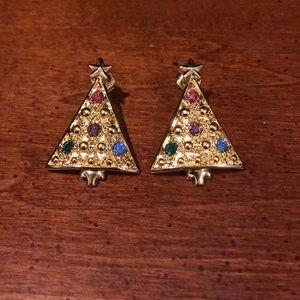 Avon Multi Gemstone Christmas Tree Earrings 🎄